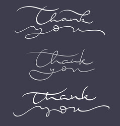 set of thank you text on dark background vector image