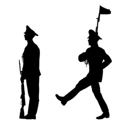black set silhouette soldier is marching with arms vector image vector image