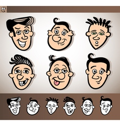 cartoon men heads set vector image