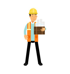 construction engineer in hard hat and orange vest vector image vector image