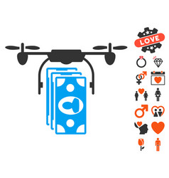 drone banknotes payment icon with valentine bonus vector image vector image