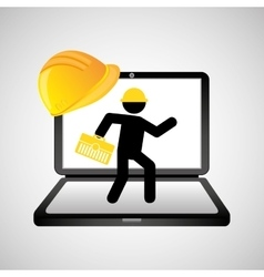 under construction web page worker tool box vector image