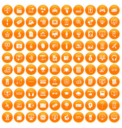 100 website icons set orange vector image