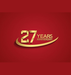 27 years anniversary logo style with swoosh vector