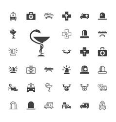 33 ambulance icons vector