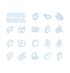 3d social media marketing isometric thin line vector image