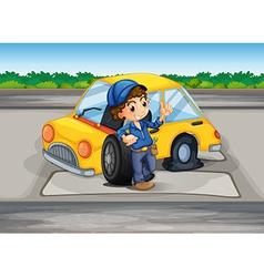A boy reparing damaged car vector