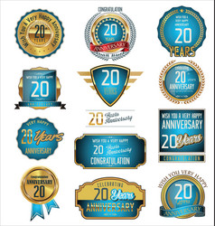 Anniversary blue and gold labels 20 years vector