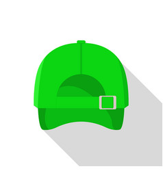 back of green baseball cap icon flat style vector image