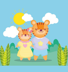 Back to school cute tigers kids with clothes in vector
