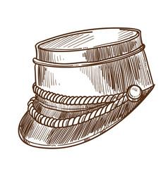 bellboy hat isolated sketch headdress uniform vector image
