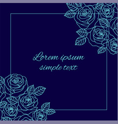 Blue roses greeting card with square frame vector