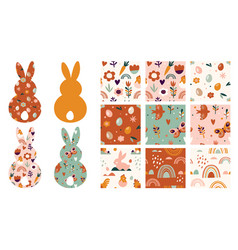 boho easter concept design seamless patterns and vector image