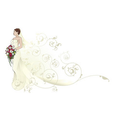 bride beautiful wedding dress pattern background vector image