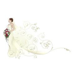 Bride beautiful wedding dress pattern background vector