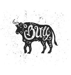 Bull lettering in silhouette vector image