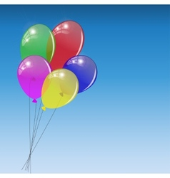 Bunch of colored balloons on sky background vector image