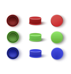 caps in red blue green colors for plastic vector image