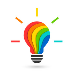 Colorful lightbulb in layered paper cut style vector