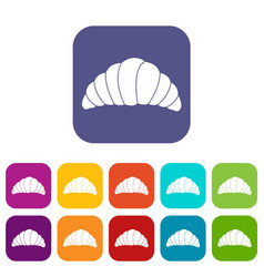 Croissant icons set flat vector