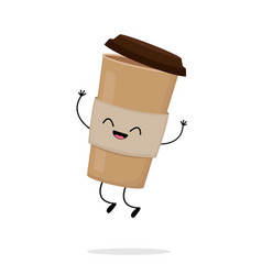 cute cartoon cardboard coffee cup vector image