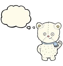cute cartoon polar bear waving with thought bubble vector image