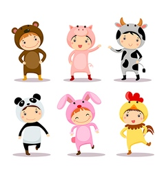 Cute kids wearing animal costumes vector