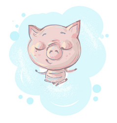 Cute little pig character in seating meditation vector