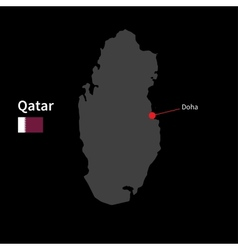 Detailed map of Qatar and capital city Doha with vector image