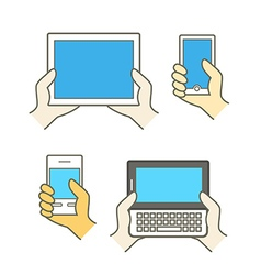 Different modern mobile gadgets Lineart color vector image