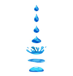 drop of liquid water falls and makes a splash vector image