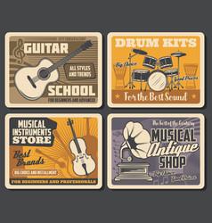 Drum guitar gramophone vinyl records music vector