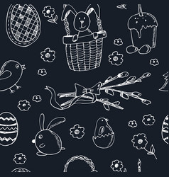 Easter traditional doodle symbols seamless pattern vector