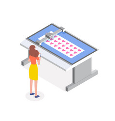 Female character controlling work process vector