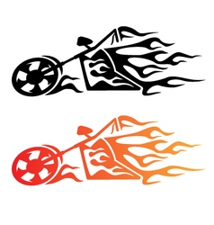 Flaming custom chopper motorcycle logo vector