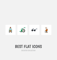 flat icon cripple set of disabled person vector image