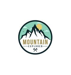 forest mountain adventure explore badge logo vector image