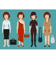Girl dressed in different outfits Cartoon vector