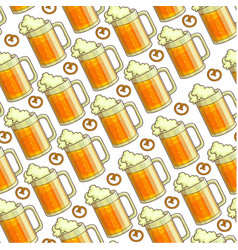 glasses filled with beer and foam seamless pattern vector image