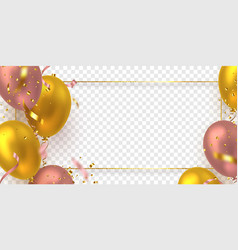 glossy balloons with confetti and glitter frame vector image