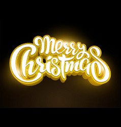 Golden text merry christmas lettering for vector
