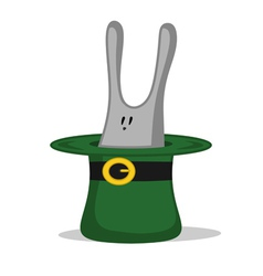 green hat with rabbit vector image