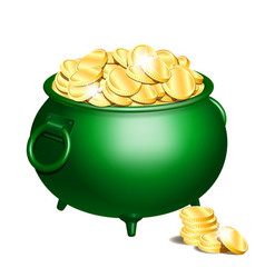 green pot with gold coins vector image
