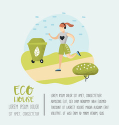 green town poster with running woman vector image