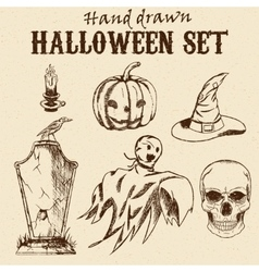 Hand Drawn Halloween characters set vector image vector image