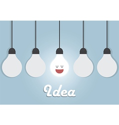 Hanging light bulbs with glowing one Bright idea vector