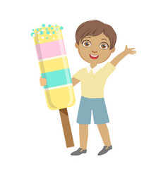 happy little boy holding a huge ice cream a vector image