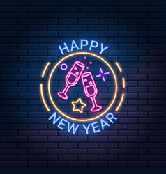 happy new year neon sign against dark brick wall vector image