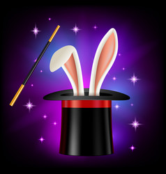 Hat with rabbit ears and magic wand on black vector