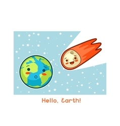 Hello Earth Kawaii space funny card Doodles vector